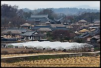 Fields, greenhouses, and village. Hahoe Folk Village, South Korea
