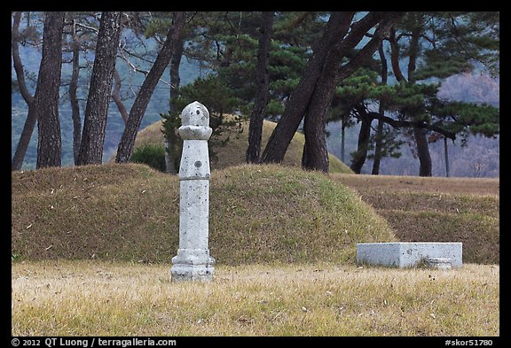 Funeral grass mounds. Hahoe Folk Village, South Korea (color)