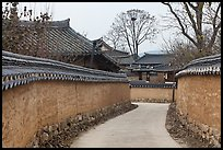 Alley between walls. Hahoe Folk Village, South Korea ( color)