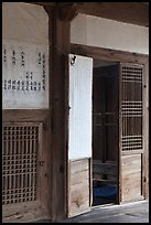 Wooden interior doors in residence. Hahoe Folk Village, South Korea