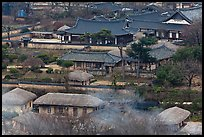 Houses seen from above. Hahoe Folk Village, South Korea