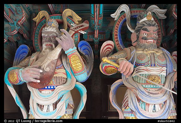 Painted wooden statues, Bulguk-sa. Gyeongju, South Korea (color)