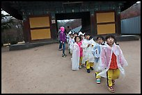 Schoolchildren with raingear, Bulguksa. Gyeongju, South Korea ( color)