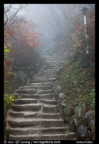 Stairs leading to grotto, Seokguram. Gyeongju, South Korea (color)