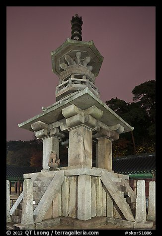 Dabotap pagoda by night, Bulguksa. Gyeongju, South Korea