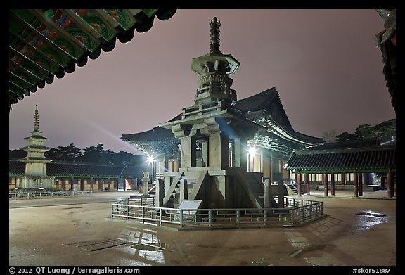 Main courtyard with pagodas by night, Bulguk-sa. Gyeongju, South Korea (color)