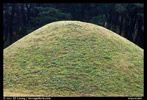 Burial mound, Mt Namsan. Gyeongju, South Korea (color)