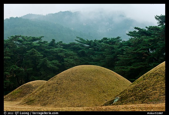 Barrows and misty mountains, Mt Namsan. Gyeongju, South Korea (color)