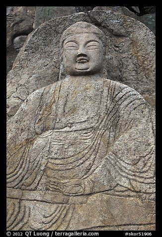 Seated Seokgayeorae rock carving, Namsan Mountain. Gyeongju, South Korea (color)