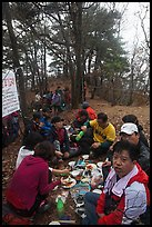 Summit picnic, Geumosang Peak, Mt Namsan. Gyeongju, South Korea (color)