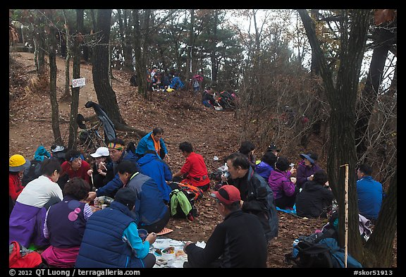Summit lunch, Geumobong Peak, Mt Namsan. Gyeongju, South Korea