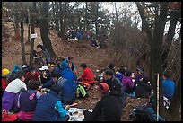 Summit lunch, Geumobong Peak, Mt Namsan. Gyeongju, South Korea (color)