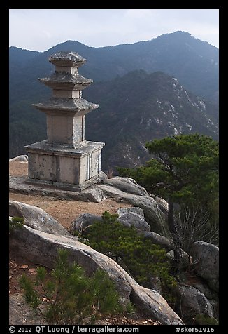 Three storied stone pagoda and mountains, Mt Namsan. Gyeongju, South Korea (color)