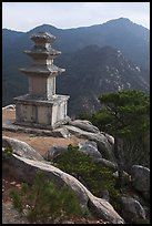 Three storied stone pagoda and mountains, Mt Namsan. Gyeongju, South Korea ( color)