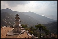 Samnyundaejwabul pagoda and mountain landscape, Namsan Mountain. Gyeongju, South Korea (color)