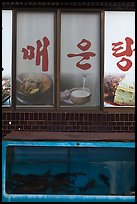 Fish tank and food pictures. Gyeongju, South Korea ( color)