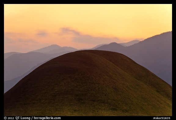 Barrows at sunset. Gyeongju, South Korea
