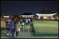 Crowd visiting Anapji Pond at night. Gyeongju, South Korea (color)