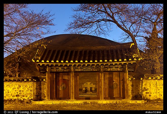 Royal tomb of King Michu of Silla by night. Gyeongju, South Korea