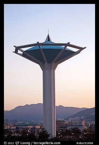 Water tower at dawn, Busan. South Korea (color)