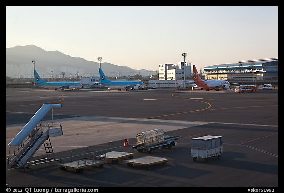 Gimhae International Airport tarmac, Busan. South Korea (color)