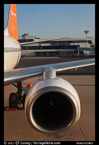 Jet engine, Gimhae International Airport, Busan. South Korea (color)