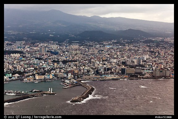 Aerial view of Jeju-Si. Jeju Island, South Korea (color)