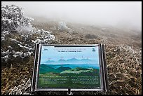 Sign and landscape with no visibility, Hallasan. Jeju Island, South Korea ( color)