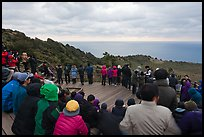 Viewers waiting for sunrise on Ilchulbong. Jeju Island, South Korea