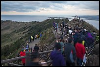 Visitors on top of Seongsang Ilchulbong. Jeju Island, South Korea