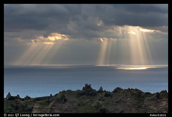 Gods rays and Ilchulbong rim. Jeju Island, South Korea