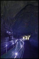 Huge lava tube cave with walkway, Manjanggul. Jeju Island, South Korea (color)