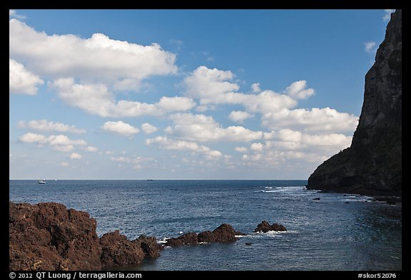Coastline, and cliff, Seongsang Ilchulbong. Jeju Island, South Korea (color)