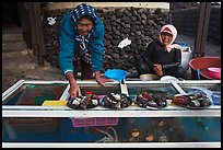 Haeneyo women selling seafood. Jeju Island, South Korea ( color)