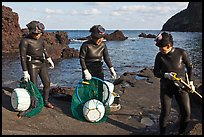 Elderly Haeneyo women in wetsuits. Jeju Island, South Korea ( color)