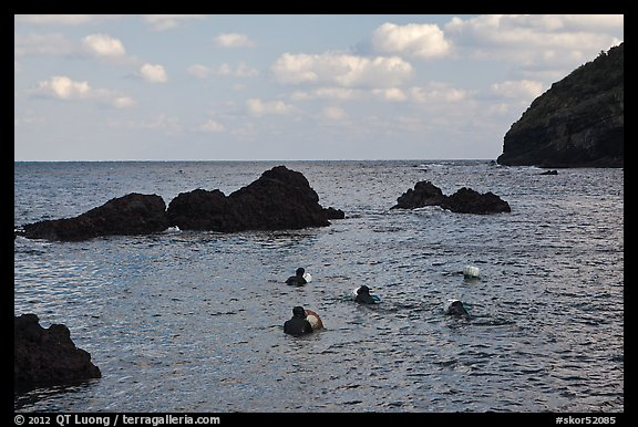 Haeneyo women swimming in cove. Jeju Island, South Korea (color)