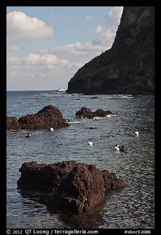 Cove with Haeneyo woman diving. Jeju Island, South Korea