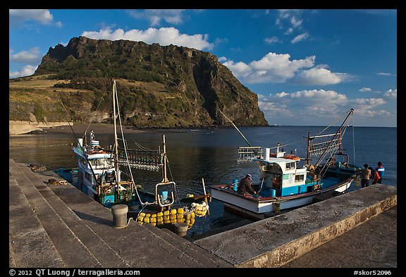 Fishing boats, Seongsang Ilchulbong. Jeju Island, South Korea (color)