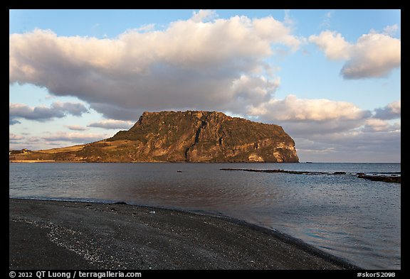 Beach and Tuff Cone,  Ilchulbong. Jeju Island, South Korea (color)