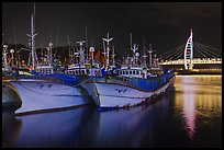 Fishing boats at night, Seogwipo. Jeju Island, South Korea ( color)
