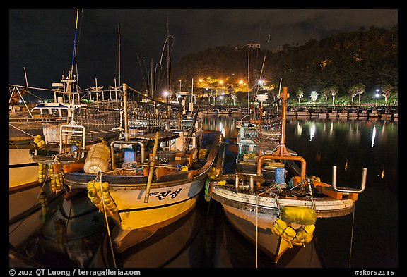 Harbor at night, Seogwipo-si. Jeju Island, South Korea (color)