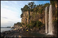 Jeongbang Pokpo, only waterfall in Asia dropping into sea, Seogwipo. Jeju Island, South Korea ( color)