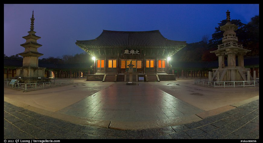 Frontal view of main hall and two pagodas at night, Bulguksa. Gyeongju, South Korea (color)