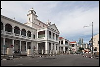 Street and colonial-style supreme court. George Town, Penang, Malaysia (color)