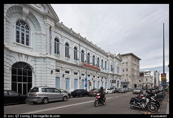 Colonial-style building and street. George Town, Penang, Malaysia (color)