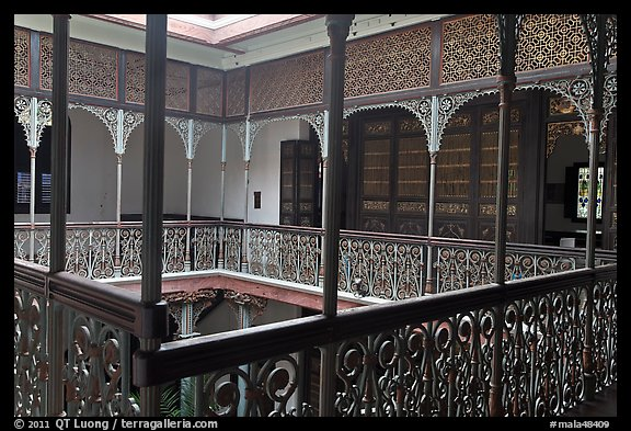 Inside courtyard veranda, Cheong Fatt Tze Mansion. George Town, Penang, Malaysia (color)