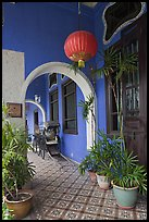 Blue exterior gallery, Cheong Fatt Tze Mansion. George Town, Penang, Malaysia ( color)