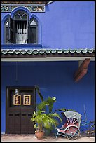Window, door, and trishaw, Cheong Fatt Tze Mansion. George Town, Penang, Malaysia ( color)