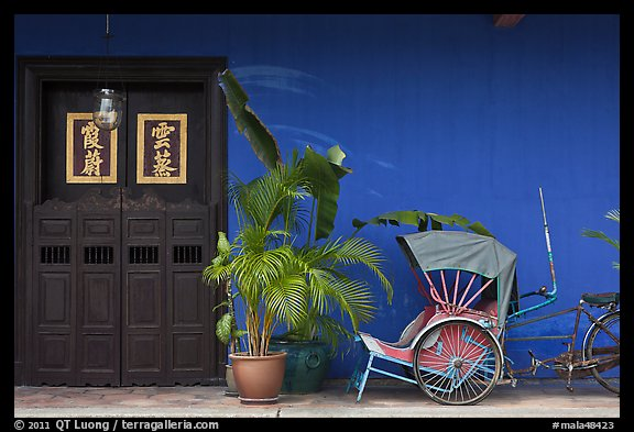 Trishaw, plant and door, Cheong Fatt Tze Mansion. George Town, Penang, Malaysia (color)