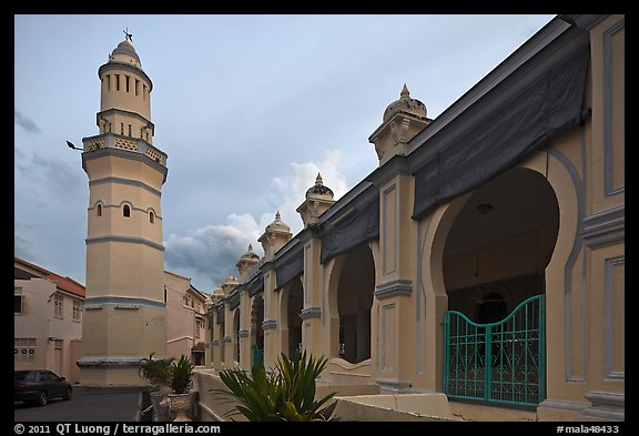 Acheen Street Mosque with Egyptian-style minaret. George Town, Penang, Malaysia (color)